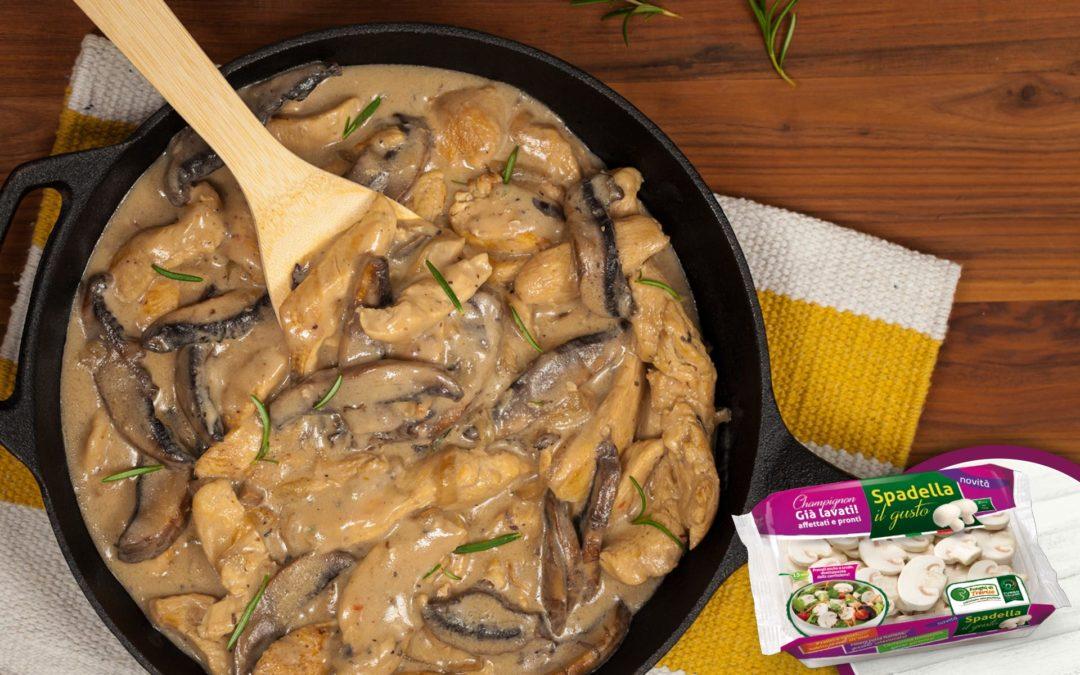 Pollo saltato con champignon