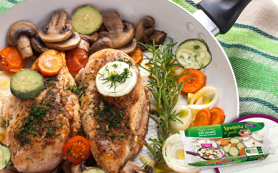 Petto di pollo con funghi e verdure