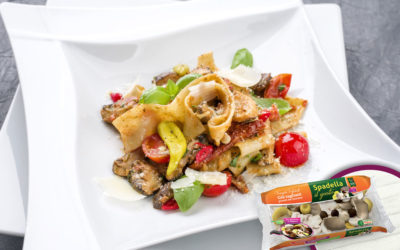 Pappardelle con cozze, pomodorini e Funghi trifolati Spadella il gusto