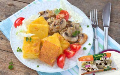 Crostini di polenta con Funghi Trifolati Spadella il gusto