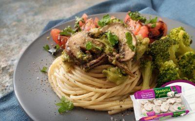 Spaghetti con broccoli e Funghi Champignon Spadella il gusto