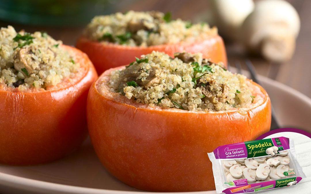 Pomodori ripieni di quinoa e Funghi Champignon Spadella il gusto