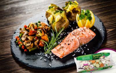 Trancio di salmone con Funghi e Verdure Spadella il Gusto